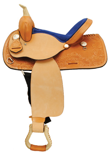 "The Sweetheart Suede Barrel Racing Saddle - 15"" (Royal Blue) - OZ 1309-15"